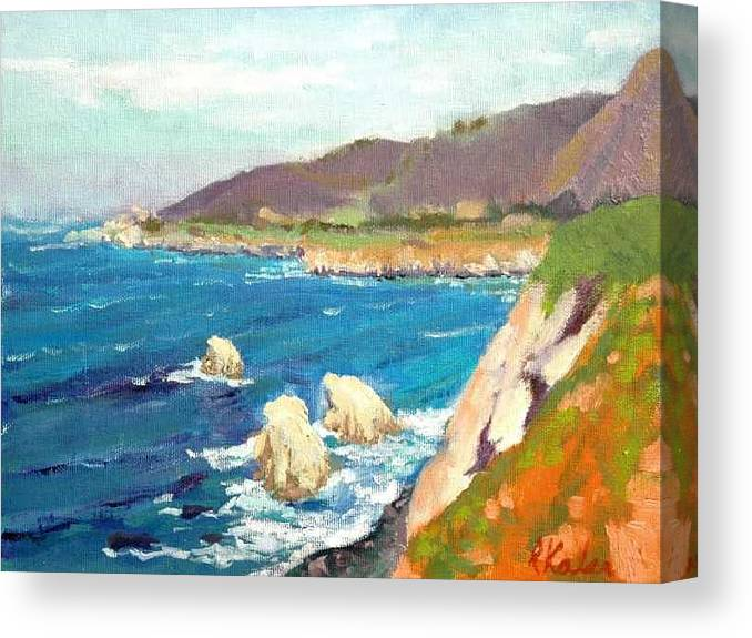 Canvas Print featuring the painting Pacific Coast by Raymond Kaler