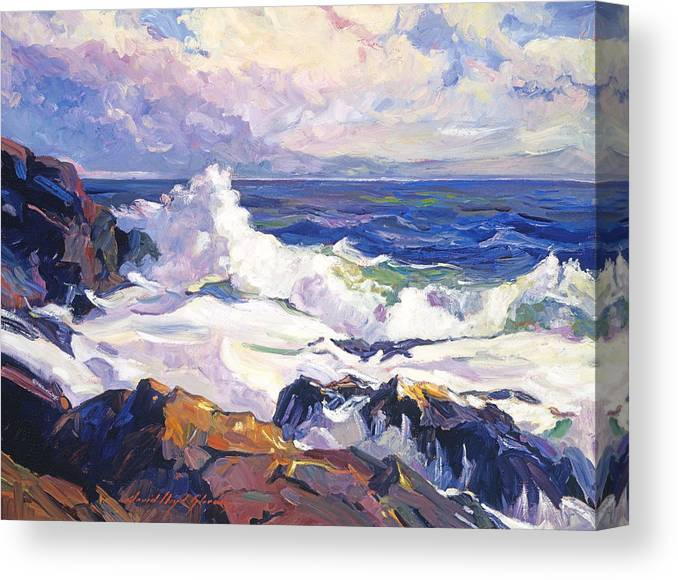 Seascape Canvas Print featuring the painting Palos Verdes Surf by David Lloyd Glover