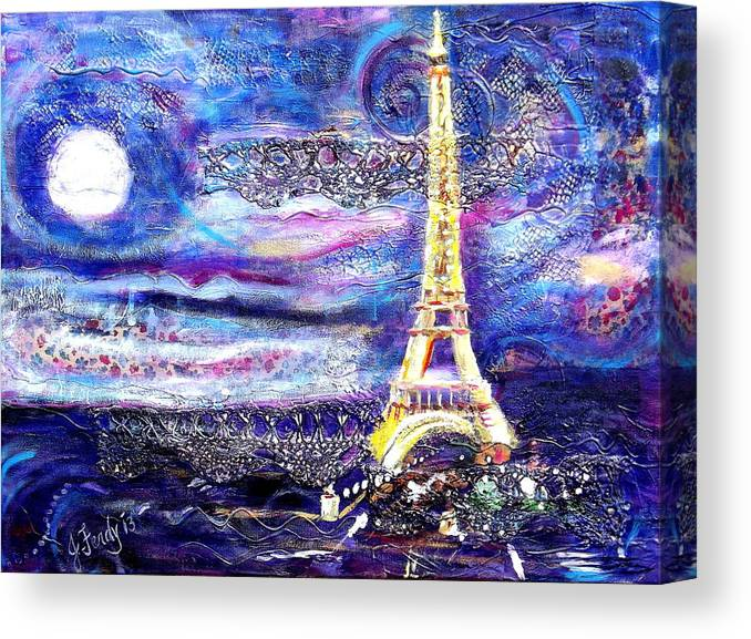 Eiffel Tower Painting Canvas Print featuring the painting Paris Night by Goddess Rockstar