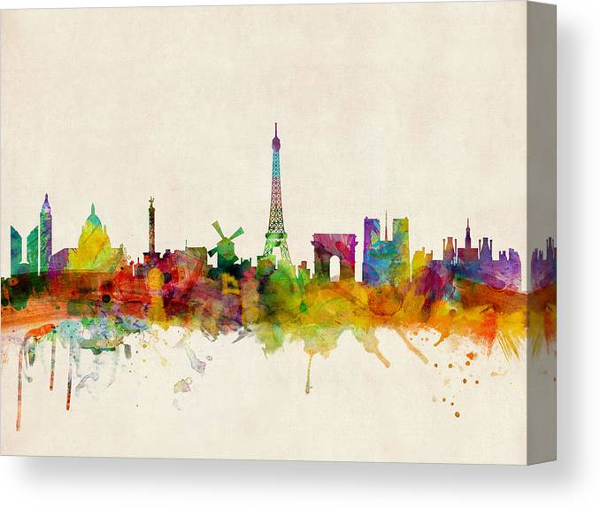 Paris Canvas Print featuring the digital art Paris Skyline by Michael Tompsett