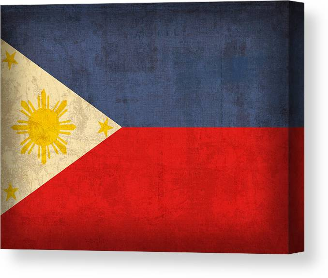 Philippines Canvas Print featuring the mixed media Philippines Flag Vintage Distressed Finish by Design Turnpike