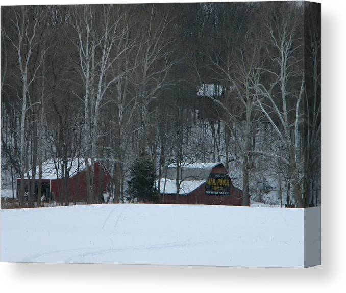 Snow Canvas Print featuring the photograph Putnam County Farm in Winter by Helen ONeal