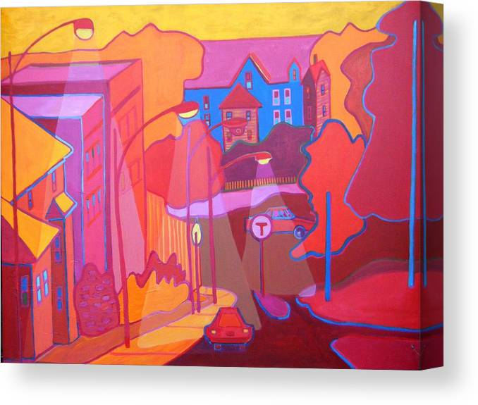 Cityscape Canvas Print featuring the painting Roslindale Never Looked so Red by Debra Bretton Robinson