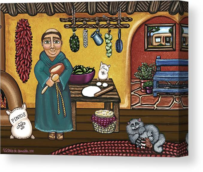 San Pascual Canvas Print featuring the painting San Pascuals Kitchen by Victoria De Almeida