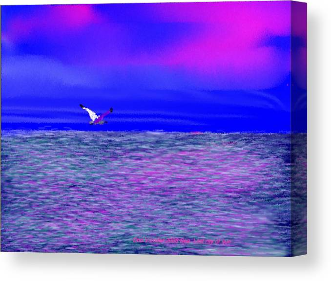 Evening.sky.clouds.sunrays.sun.sunset.sea.waves.colors.blue.pink.red.dark Blue Canvas Print featuring the digital art Sea. Last rays of sun by Dr Loifer Vladimir