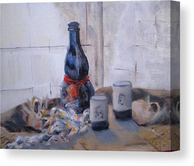 Still Life Canvas Print featuring the painting Sea Shells And Sake by Bryan Alexander