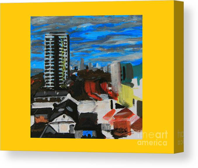 Settle Point Canvas Print featuring the painting Settle Point - Plaistow East London by Mudiama Kammoh