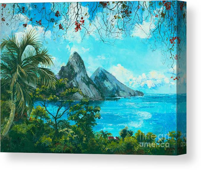 Mountains Canvas Print featuring the painting St. Lucia - W. Indies by Elisabeta Hermann