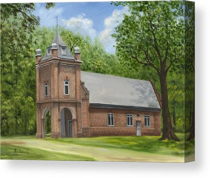 Historic Church Canvas Print featuring the painting St. Peter's Church by Anne Kushnick