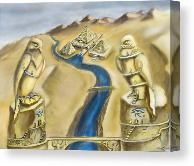 Horus Canvas Print featuring the digital art Temple Of Horus Two Out Of Three by Michael Cook
