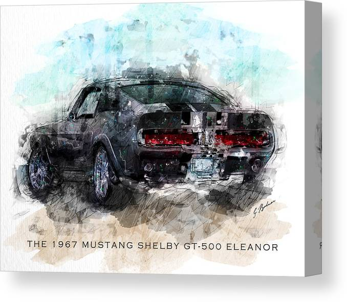 1967 Shelby GT500 sports car framed canvas print