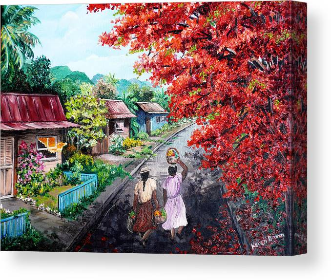 Caribbean House Painting Canvas Print featuring the painting The Blue Fence    Sold by Karin Dawn Kelshall- Best