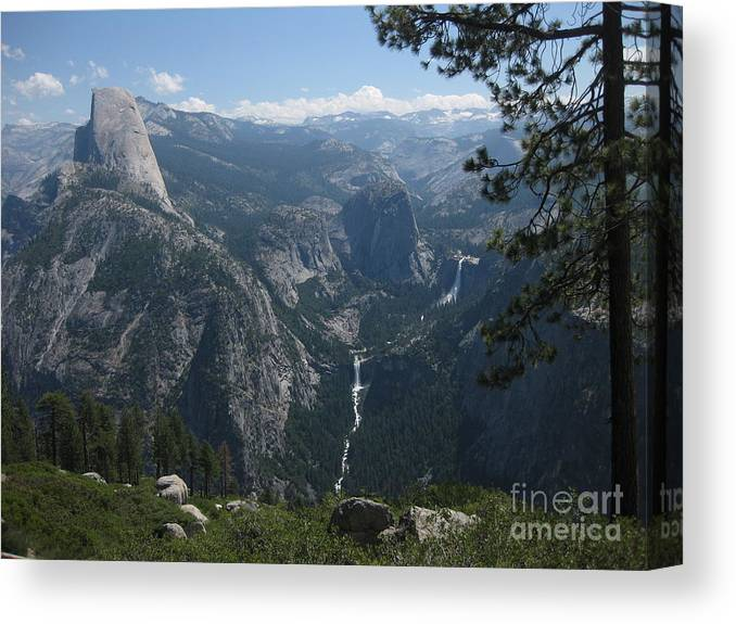 Half Dome Canvas Print featuring the photograph The Waterfall Beyond The Dome by AC Hamilton