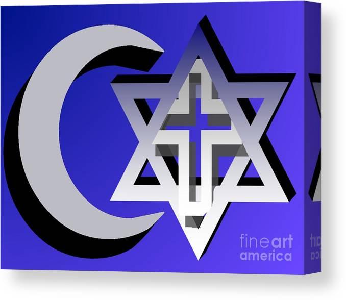 Interfaith Canvas Print featuring the digital art Three Faiths by Pharris Art