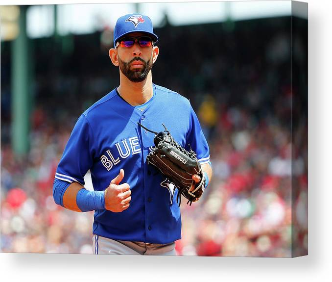 Second Inning Canvas Print featuring the photograph Toronto Blue Jays V Boston Red Sox by Winslow Townson