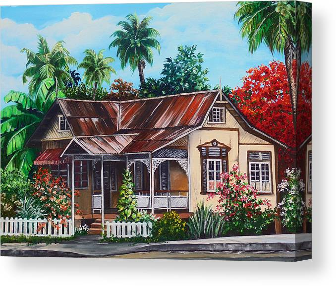 House Canvas Print featuring the painting Trinidad House no 1 by Karin Dawn Kelshall- Best