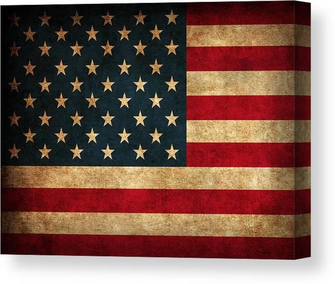 United States American Usa Flag Vintage Distressed Finish On Worn Canvas Canvas Print featuring the mixed media United States American USA Flag Vintage Distressed Finish on Worn Canvas by Design Turnpike