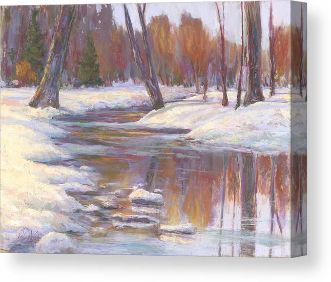 Snow And Stream Canvas Print featuring the painting Warm Winter Reflections by Billie Colson