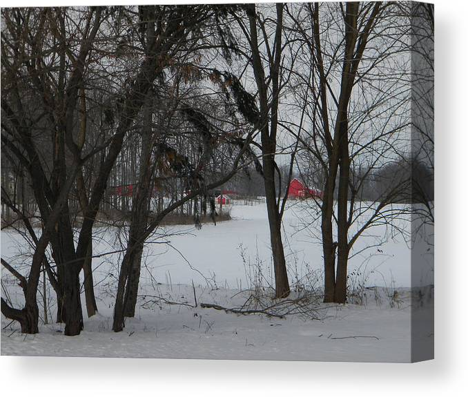 Winter Canvas Print featuring the photograph Woodland Farm in Winter by Helen ONeal