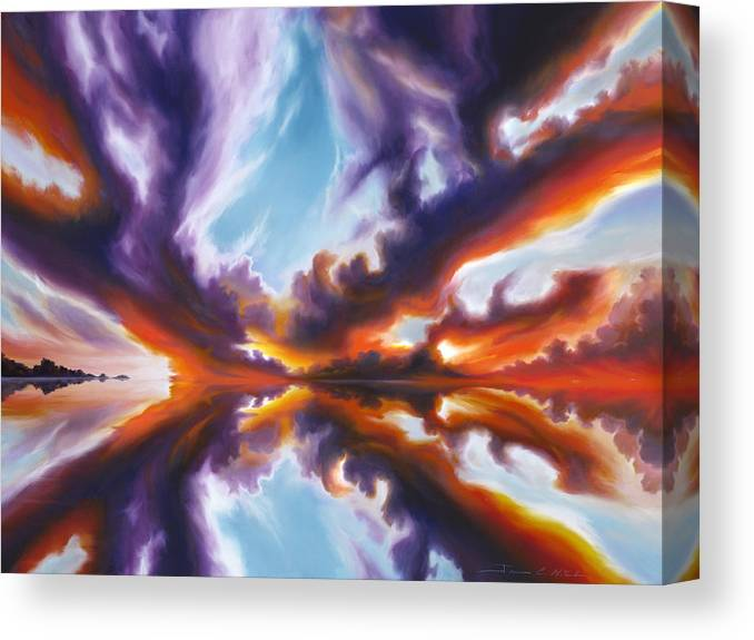 Bright Clouds; Sunsets; Reflections; Ocean; Water; Purple; Orange; Storms; Lightning; Contemporary; Abstract; Realism; James Christopher Hill; James Hill Studios; James C. Hill Canvas Print featuring the painting Reflections of the Mind by James Christopher Hill