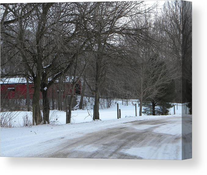 Snow Canvas Print featuring the photograph Baker's Camp Covered Bridge by Helen ONeal