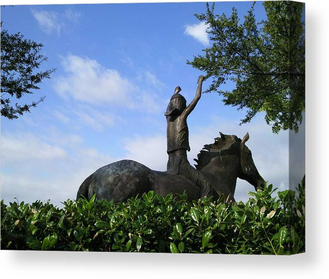 Landscape Canvas Print featuring the photograph Bronz Rider by C Winslow Shafer