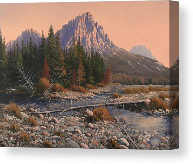 Rocky Mountain Landscape Canvas Print featuring the painting 080525-1620 Fading Light On Horse Thief Creek by Kenneth Shanika
