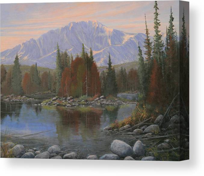Landscape Canvas Print featuring the painting 090506-1418  Colorado Morning by Kenneth Shanika