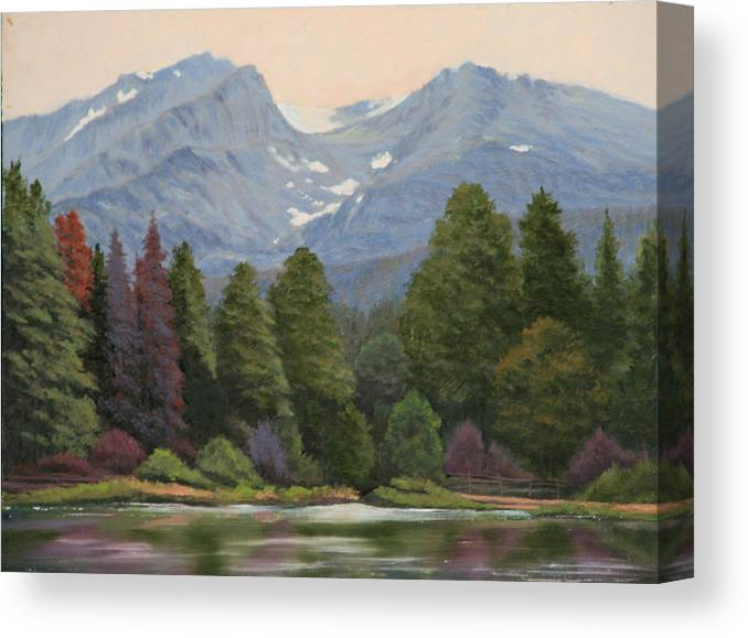 Landscape Canvas Print featuring the painting 090817-1114 Ripples and Reflections - Sprague Lake by Kenneth Shanika