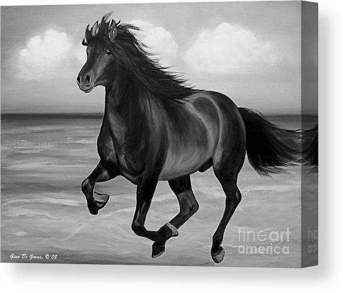 Horses Canvas Print featuring the painting Horses in Paradise RUN by Gina De Gorna