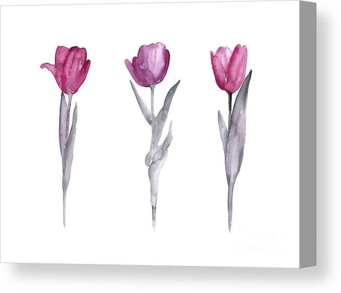 Tulips Canvas Print featuring the painting Purple tulips watercolor painting by Joanna Szmerdt