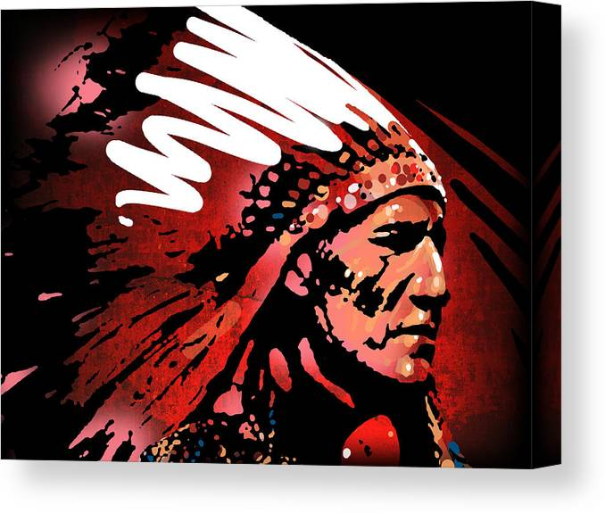 Native American Canvas Print featuring the painting Red Pipe by Paul Sachtleben