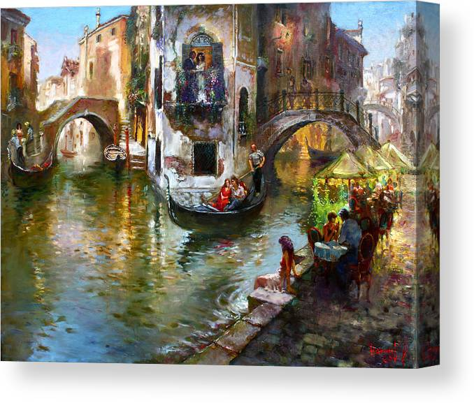Romance In Venice Canvas Print featuring the painting Romance in Venice by Ylli Haruni
