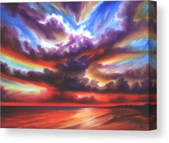 Sunrise Canvas Print featuring the painting Skyburst by James Christopher Hill