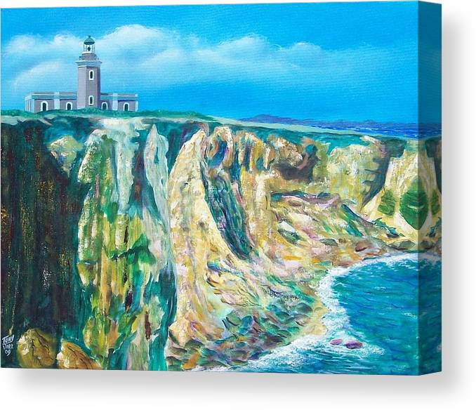 Cabo Rojo Lighthouse Canvas Print featuring the painting Cabo Rojo Lighthouse by Tony Rodriguez