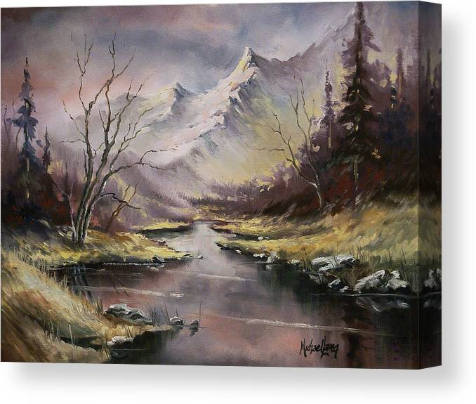 Original Landscape Oil Painting Canvas Print featuring the painting Landscape by Michael Lang