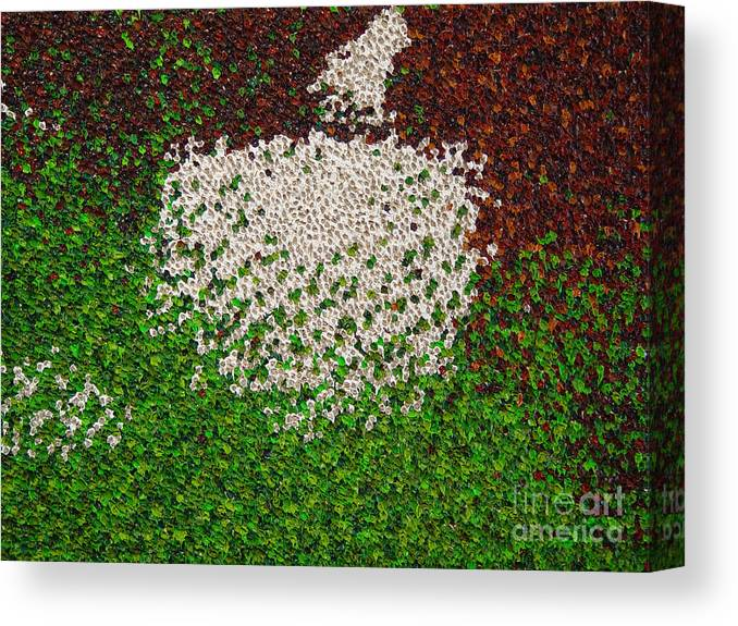 Abstract Canvas Print featuring the painting Soft Green with Brown, Buff and White by Dean Triolo