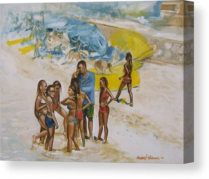 On The Beach Canvas Print featuring the painting Untitled 5 by Howard Stroman