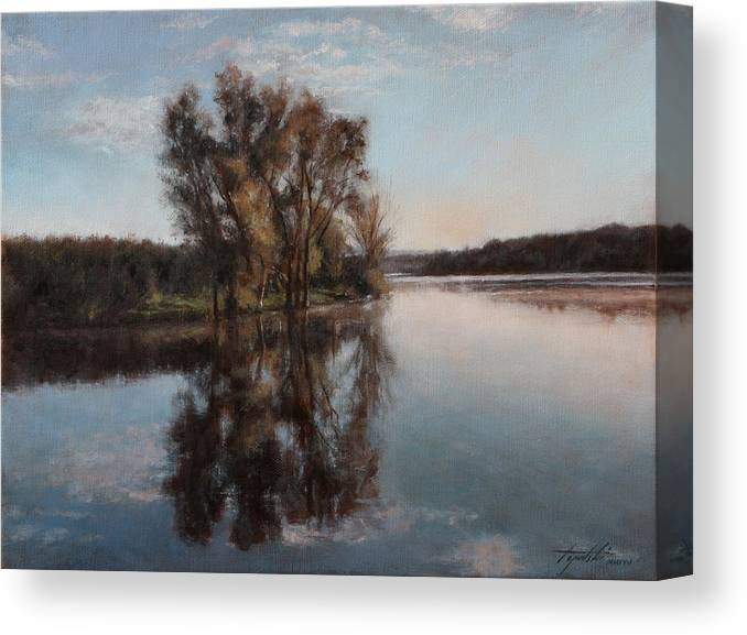 Realism Canvas Print featuring the painting A Lake by Darko Topalski