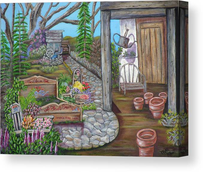 Formal Gardens Canvas Print featuring the painting A Place to Dream by Mikki Alhart