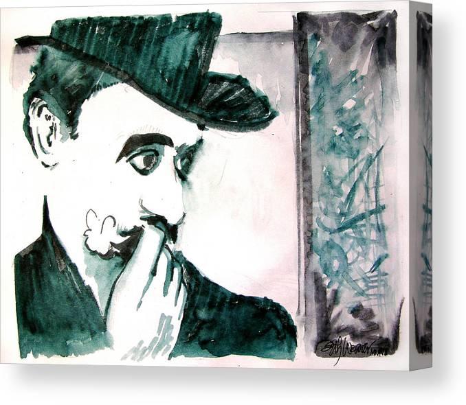 A Sad Portrait Of Chaplin Canvas Print featuring the drawing A Sad Portrait of Chaplin by Seth Weaver
