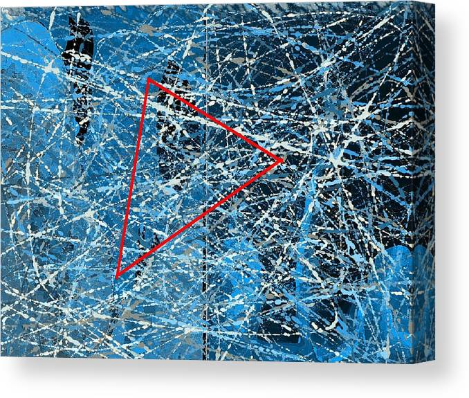 Abstract Canvas Print featuring the digital art Abstract in blue and red by Joseph Ferguson