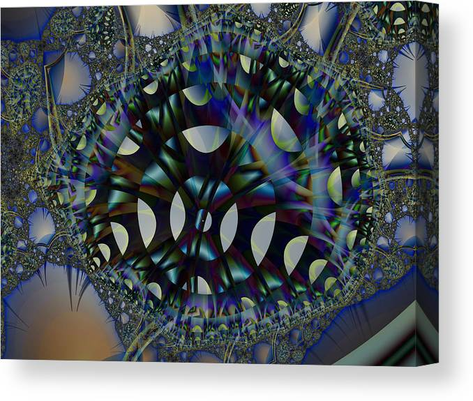 Fractal Canvas Print featuring the digital art Allien Gears by Frederic Durville