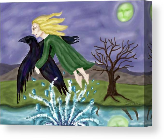 Crow Canvas Print featuring the painting As the Crow Flies by Linda Marcille