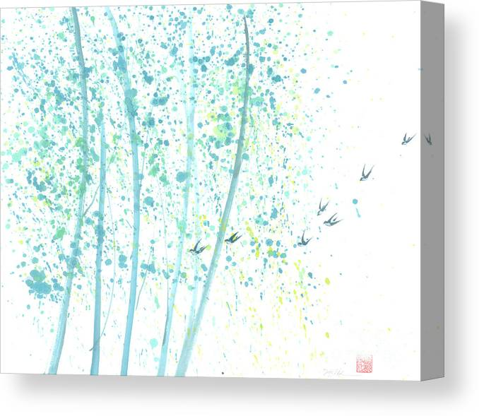 Birds Flying Through An Aspen Forest. This Is A Contemporary Chinese Ink And Color On Rice Paper Painting With Simple Zen Style Brush Strokes. Canvas Print featuring the painting Aspen Forest by Mui-Joo Wee