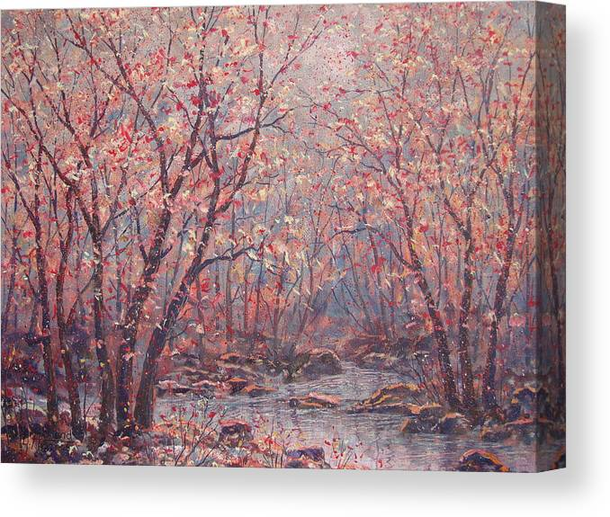 Landscape Canvas Print featuring the painting Autumn Harmony. by Leonard Holland