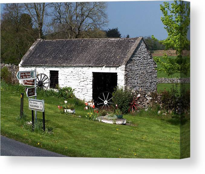 Ireland Canvas Print featuring the photograph Barn at Fuerty Church Roscommon Ireland by Teresa Mucha