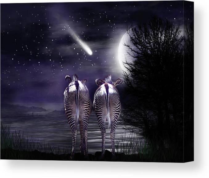 Zebra Canvas Print featuring the mixed media Beneath A Zebra Moon by Carol Cavalaris