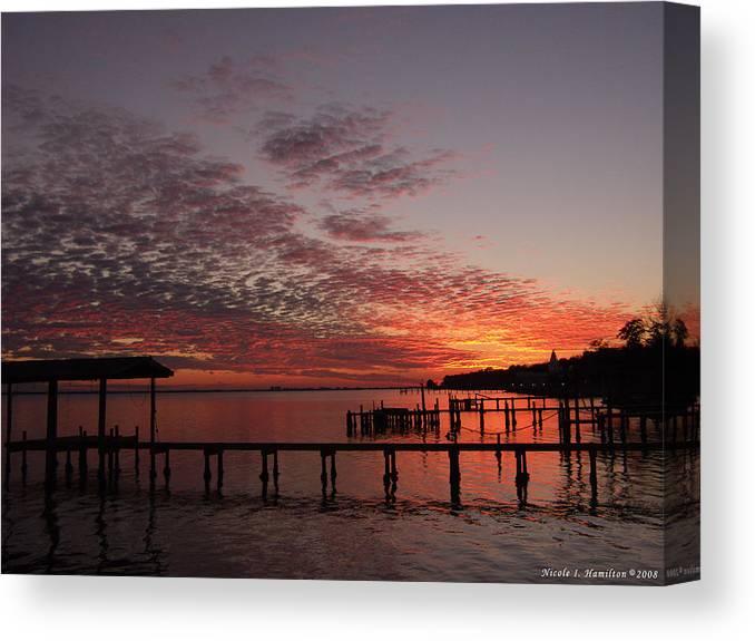 Boathouse Canvas Print featuring the photograph Boathouse Sunset by Nicole I Hamilton