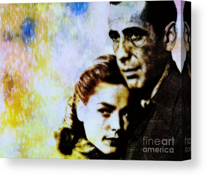 Hollywood Canvas Print featuring the painting Bogie and Bacall by Wbk